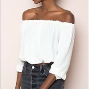 white off the shoulder long sleeve crop top